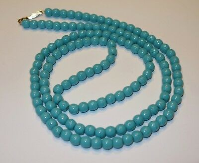 """Vintage Signed Napier Turquoise Color Glass Beaded Necklace Wire Strung 31"""""""