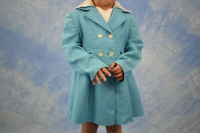 Girls Vintage Double Breasted Swing Coat 1950s -Lightweight -Handmade -Size 5 >Z