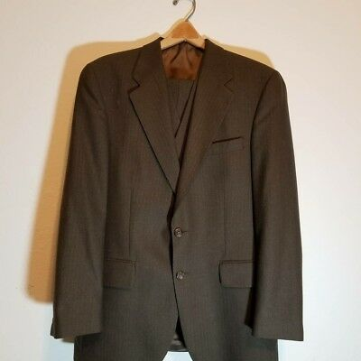 Brown Chaps Ralph Lauren 3 Piece Suit Double Button Striped Wool Size 40R  36x30