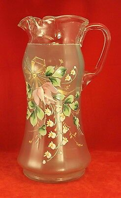 Antique Enamel & Glass Water or Lemonade Pitcher - Lily of the Valley Bohemian