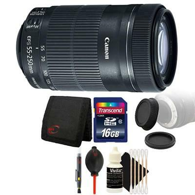Canon EF-S 55-250mm F4-5.6 IS STM Lens with Bundle for Canon DSLR Cameras