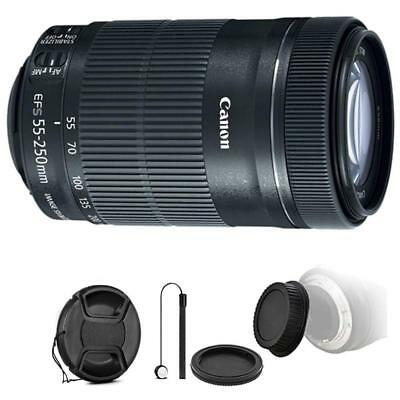 Canon EF-S 55-250mm F4-5.6 IS STM Lens w/ Accessories for Canon EOS 70D & 80D