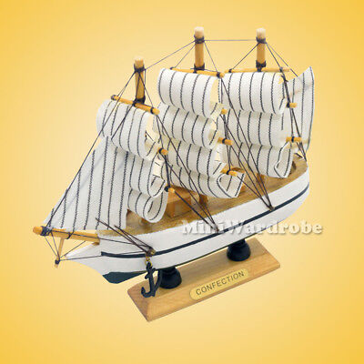 HANDMADE VINTAGE NAUTICAL Wooden Wood Ship Sailboat Boat Model Home ...