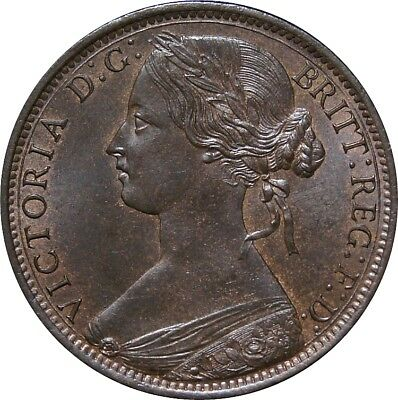 1867 Penny, Victoria. Uncirculated.  Spink 3954. Rare (R7). Spink Values £1000