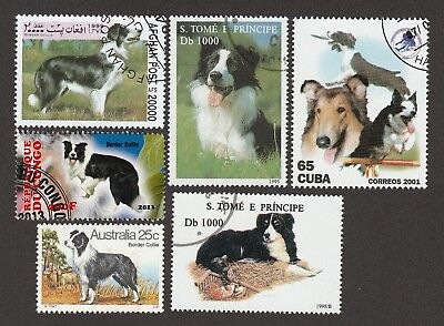 BORDER COLLIE **Great Gift Idea ** Int'l Dog Postage Stamp Collection  **