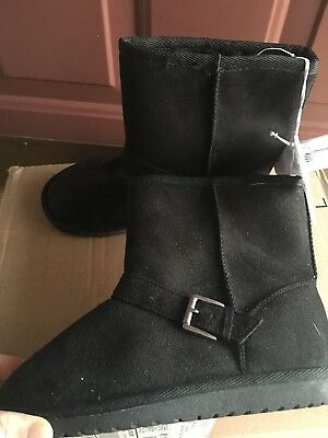 New the children's place girl's ankle winter boot size 13 black nice'n warm