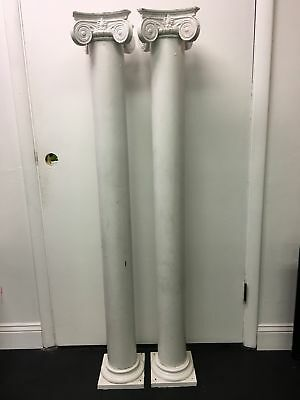 2 Antique Victorian Heavy Oak Columns Posts Authentic Salvage 60""