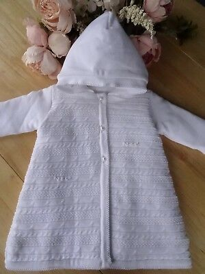 100% Cotton Baby Girls White Fine Knit Pearls Embroidered Padded Long Pram Coat