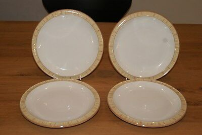 "Denby Caramel Stripes set of four 8.25"" dessert or salad plates"