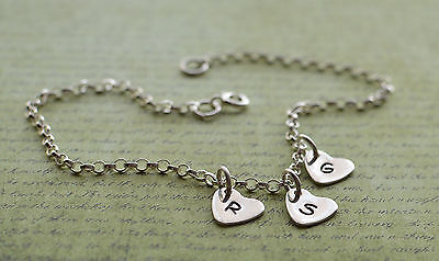 Sterling Silver Three Personalised Heart Charm Ankle Chain Bracelet Anklet 925