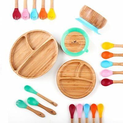 Avanchy Baby Feeding Bamboo Spill Proof Stay Put Suction Bowl + Baby Spoon - Gre