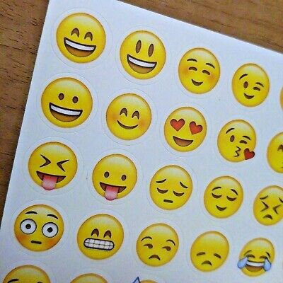 Emoji Sticker Smiley Emoticon Stickerbogen Smilie Smily Herz Kuss Aufkleber Gelb