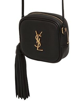 SAINT LAURENT YSL Gold Monogram Blogger Leather Cross Body Bag Black ... 590147bce8d4d