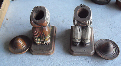 Lot of 2 Unique Vintage Hand Carved and Painted Wood Lidded Mexican Figures