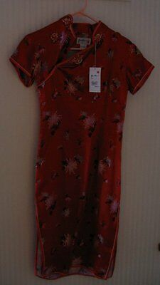 NWT Ladies 34 Red Chinese Dress Cheongsam YUE HWA Qi Pao Chi Pao Flowers Sexy