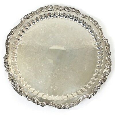 "Baroque By Wallace Silver 15"" Circle Patterned Footed Serving Tray Vintage #249"