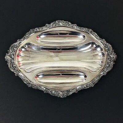 "Baroque By Wallace Silver 13"" Oval Patterned 3 Part Serving Tray Dish Vintage"