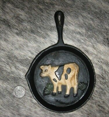 """Vintage Miniature Cast Iron Skillet Decor 7.5"""" Heavy The Real Thing Cute"""