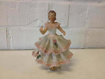 Vintage Antique German Dresden Porcelain Lace Figurine Dancer / Woman