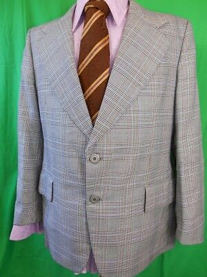 Vintage 1960s 70s Australian Made Grey Plaid Wool Blend Sports Jacket Blazer 40""
