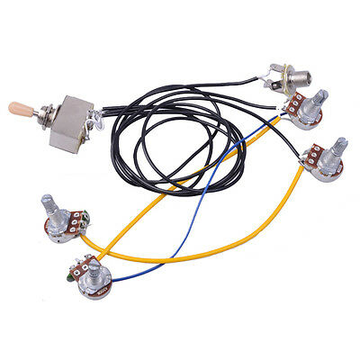 1SET WIRING Harness 3 way Toggle Switch 2V2T 500K Pots & Jack Les ...