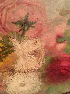 19th C. Victorian Antique Oil Painting Roses Crysamthemums Stunning Signed