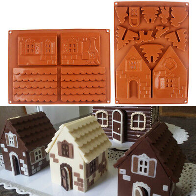 AS_ 2Pcs/Set 3D Christmas House Silicone Chocolate Cake Mold Mould Baking Tool A