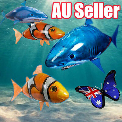 Toy Remote Control RC Inflatable Balloon Air Swimmer Flying Nemo Shark Blimp EA