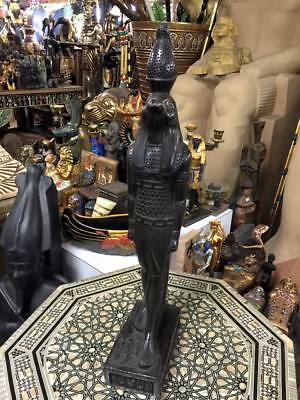 Vintage Large Heavy Egyptian God Horus Statue Hand Carved 1977 Made in Egypt