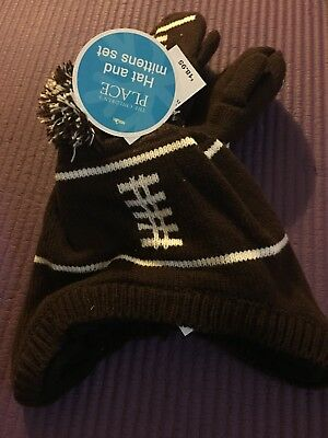 New the children's place toddler boy's winter warm hat with mitten size12-24m