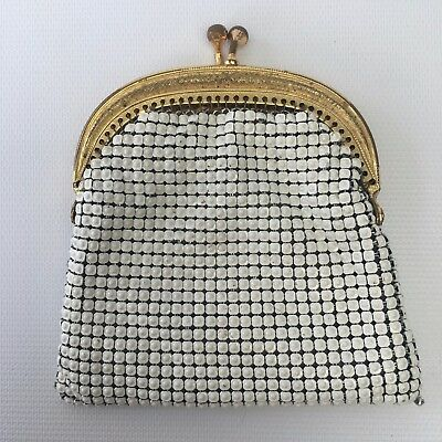 Vintage Oroton Coin Purse White Mesh with Gold Frame