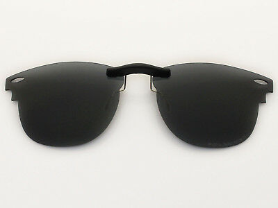 Custom Fit Polarized CLIP-ON Sunglasses For Clubmaster RB3016 51X21 Black