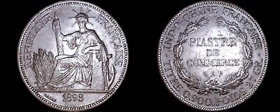 1898-A French Indo-China 1 Piastre World Silver Coin - Vietnam