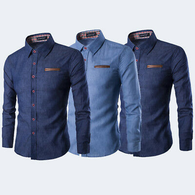 Men's Luxury Casual Denim Shirt Long Sleeve Slim Fit Business Dress Shirts TOPS