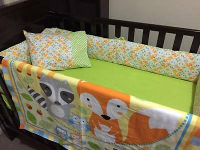 Bright And Colourful Woodland Friends Baby Cot Bumper And Quilt Set