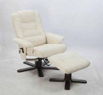 PU Leather Massage Chair Recliner Ottoman Lounge Remote with Footrest - Cream