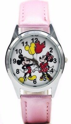 Mickey & Minnie Mouse Pink Leather Band Wrist Watch