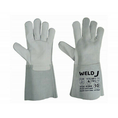 Heavy Duty Wood Burner Mig Welding Heat Resistant Leather Gloves Stoves Fire Red