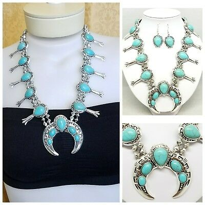 Squash Blossom Necklace Large Faux Turquoise Zuni Navojo Western Native Chunky