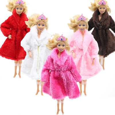 Doll Plush Coat Clothes Set Party Accessories For Barbie Girl Gift 10 Colors Lot
