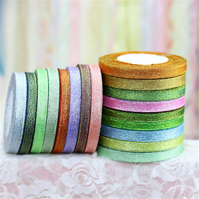 25 Yards 10mm Glitter Satin Ribbons Bling Bows Crafts Wedding Decoration