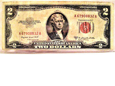 1953B Series Two Dollar Bill $2 Red Seal US Currency Note