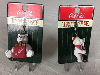 NEW 1998 Coca-Cola Trim A Tree Set of 2 Mini Christmas Ornaments Polar Bears-