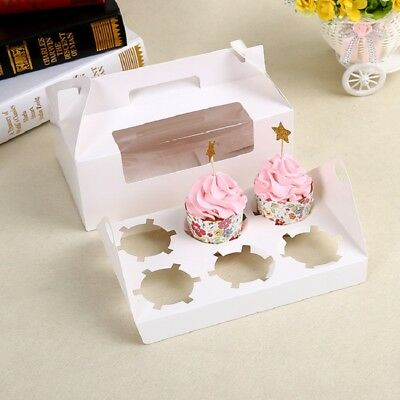 Food Grade Paper Muffin Cupcake Boxes With Handle Baby Shower Packing Gift Cases