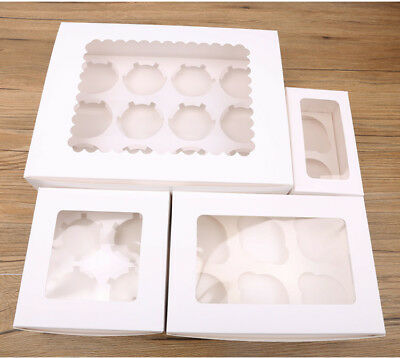 4/6/12 Holes Paper Cupcake Box Wedding Favors Muffins Bun Carboard Tray Holders