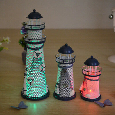 Style Decoration Mediterranean Ocean Home LED Flash 1 Pcs Office Lighthouse