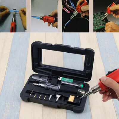 Self-Ignition 10-in-1 Gas Soldering Iron Cordless Welding Torch Kit Tool - Black
