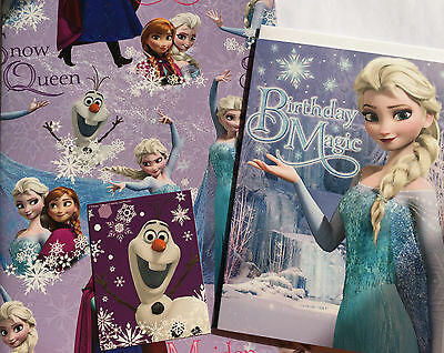 Disney Frozen Elsa Anna Snow Queen Gift Wrap Wrapping Paper Birthday Card Pack