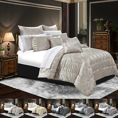 Bedspread Luxury Jacquard 3 Pcs Faux Silk Quilted Bed Spread Comforter Set Sizes
