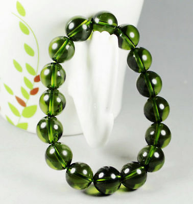 Genuine Natural Moldavite Gemstone Round Beads Bracelet